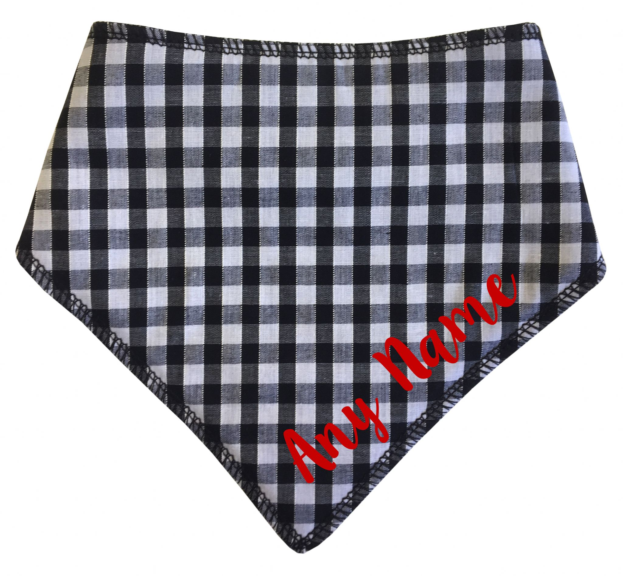 Personalised Black & White Gingham Dog Bandana